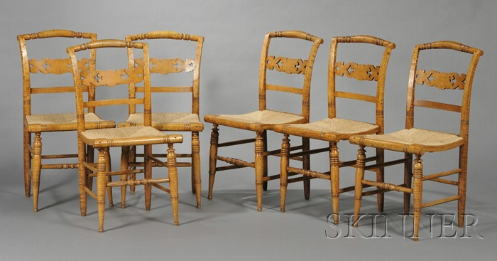 Set of Six Classical Tiger and Birds-eye Maple Side Chairs with Woven Rush Seats.