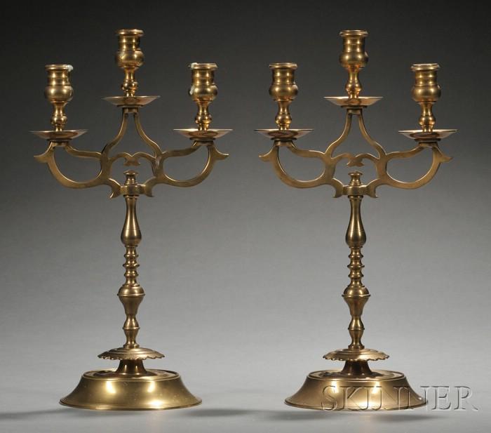 Pair of Brass Three-light Candelabra