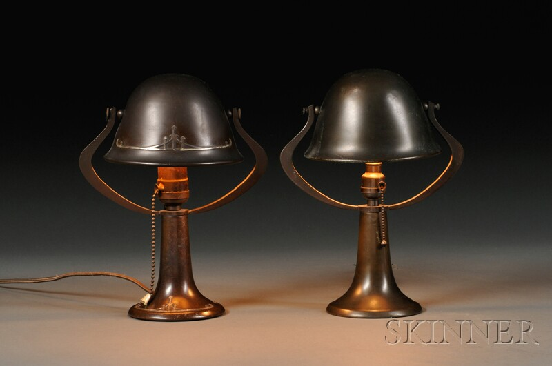 Two Small Metal Lamps Attributed to Heinz Art