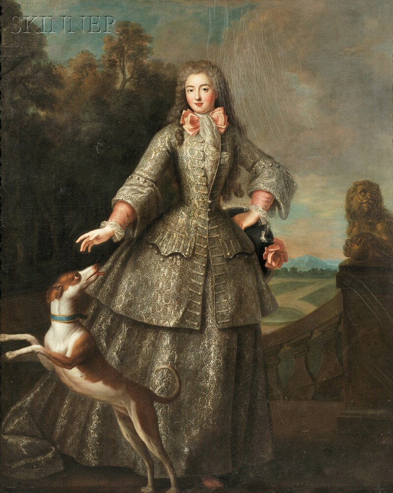 French School, 18th Century Full-length Portrait Of An