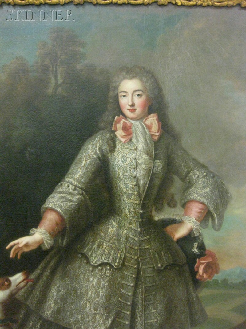 French School, 18th Century      Full-length Portrait of an Aristocratic Woman with a Dog