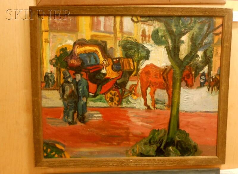 American School, 20th Century      Street Scene with a Horse-drawn Cab