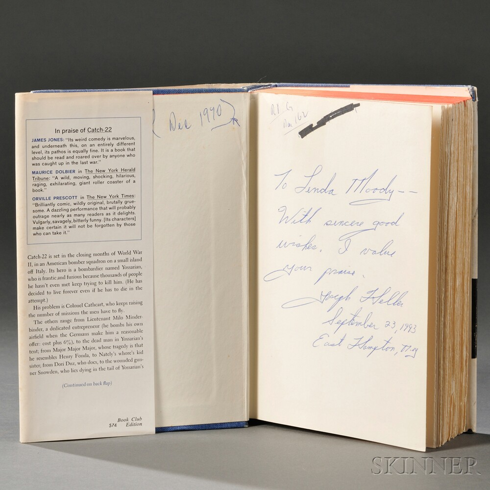 Heller, Joseph (1923-1999) Catch 22  , Book Club Edition, Inscribed.