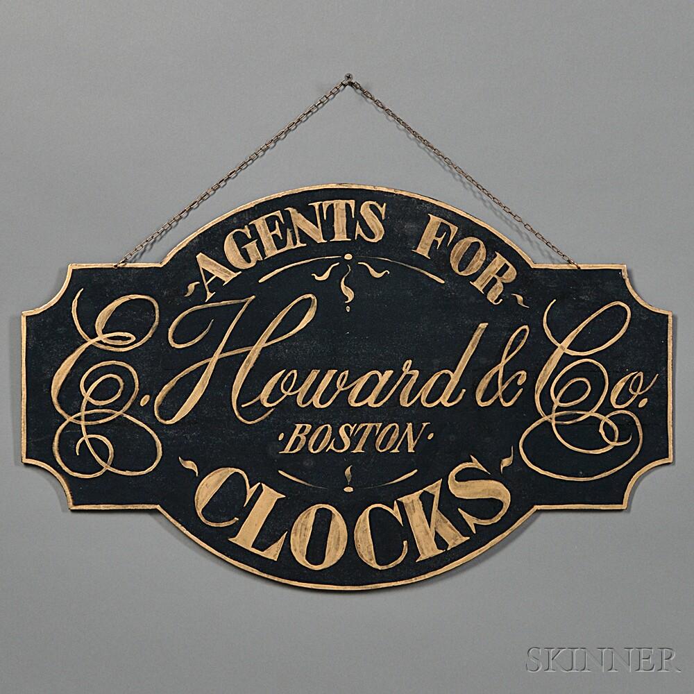 E. Howard & Co. Clocks Trade Sign