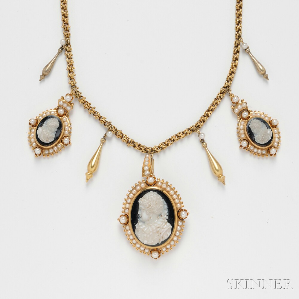 14kt Gold, Hardstone Cameo, and Pearl Necklace