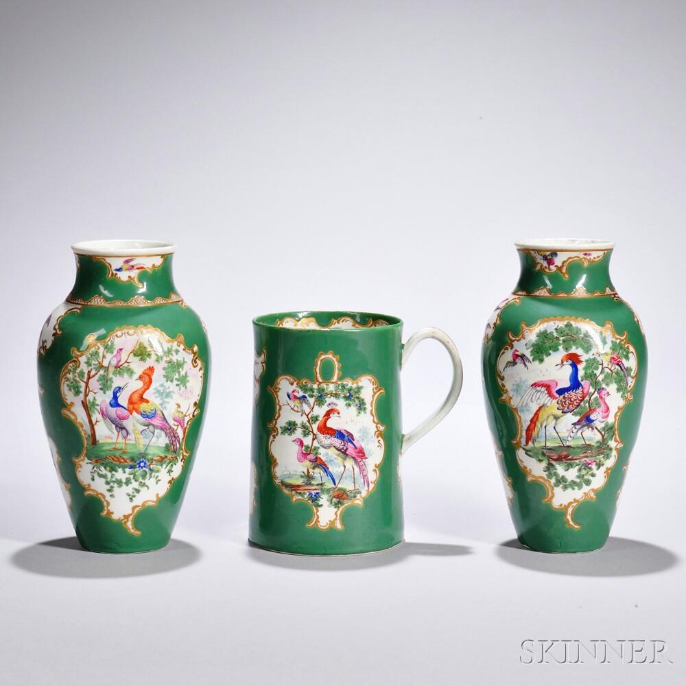 Three Apple Green Glazed Worcester Porcelain Items