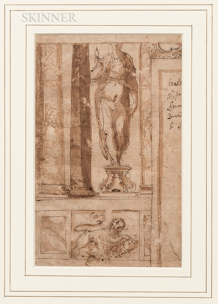 Italian School, Probably Parma, 16th Century      Sketch of an Interior with Niche Sculpture and Heraldic Lion Below
