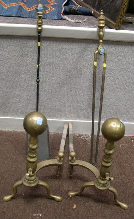 Pair of Brass Ball-top Andirons, Brass Fireplace Shovel and Tongs.