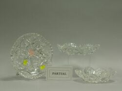 Five Colorless Cut Glass Low Bowls/ Trays.