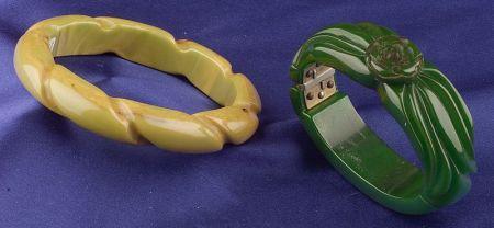 Two Bakelite Carved Bracelets