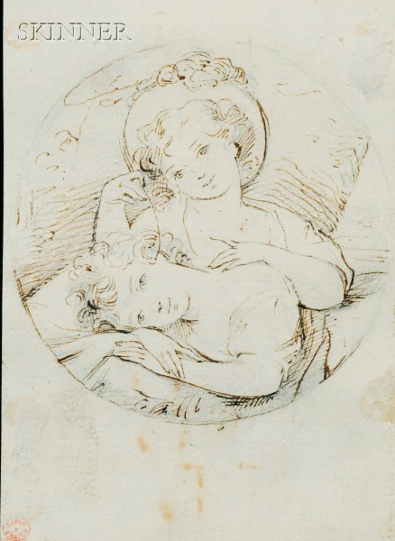 Lot of Two Works on Paper:   British School, 18th/19th Century, Two Maidens