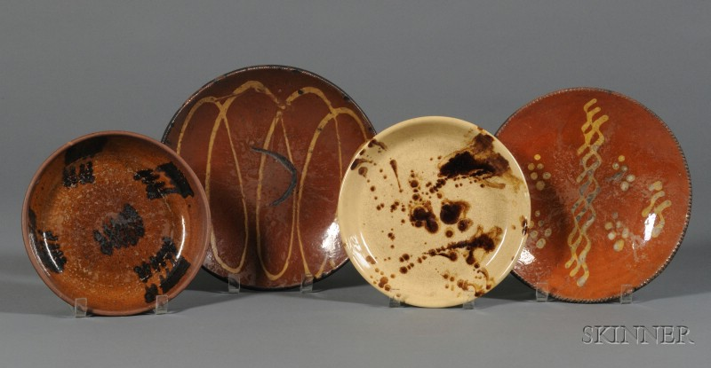 Four Redware Items