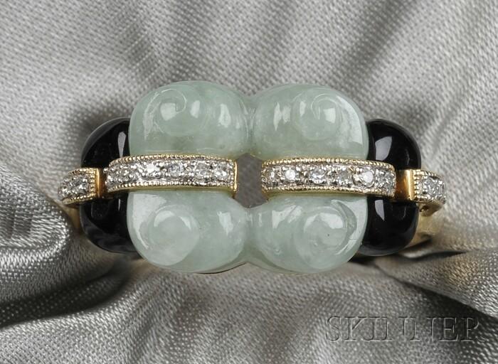 14kt Gold, Jadeite, Onyx, and Diamond Ring