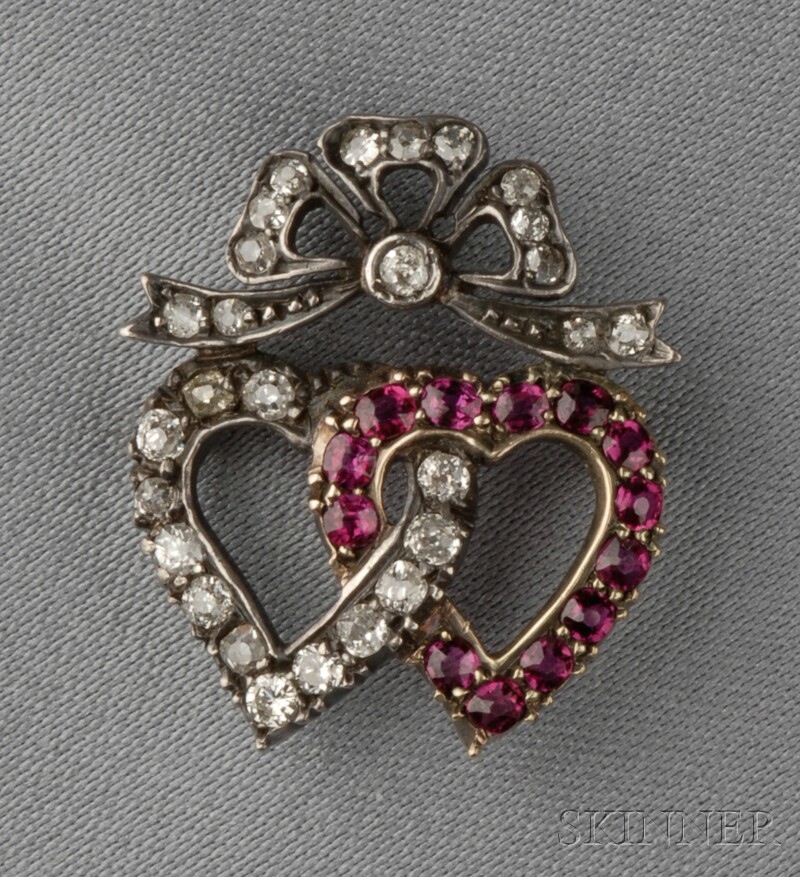 Antique Ruby and Diamond Witch's Heart Brooch