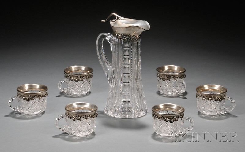 American Colorless Cut Glass and Sterling-mounted Claret Jug with Six Cups