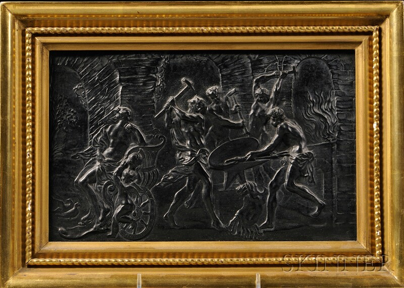 Black Basalt Plaque of Vulcans Forging