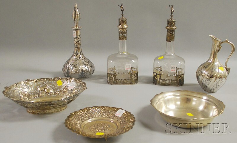 Seven Assorted Silver and Silver-mounted Items