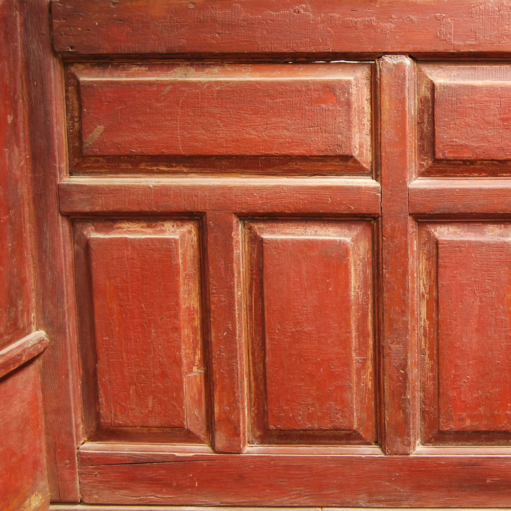 Red-painted and Paneled Banc Lit