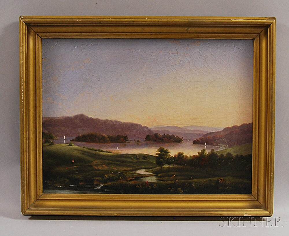 Hudson River School, 19th Century       Riverscape with Sailboats.