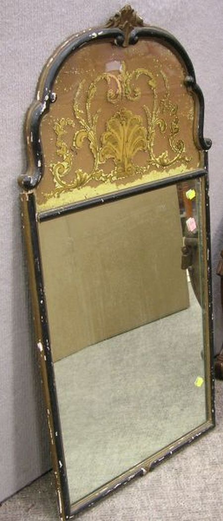 Baroque-style Partial-Gilt and Ebonized Mirror with Reverse-Painted Tablet.