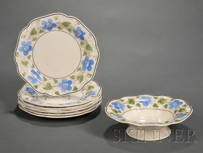 Seven Wedgwood Floral Decorated Queen's Ware Dishes
