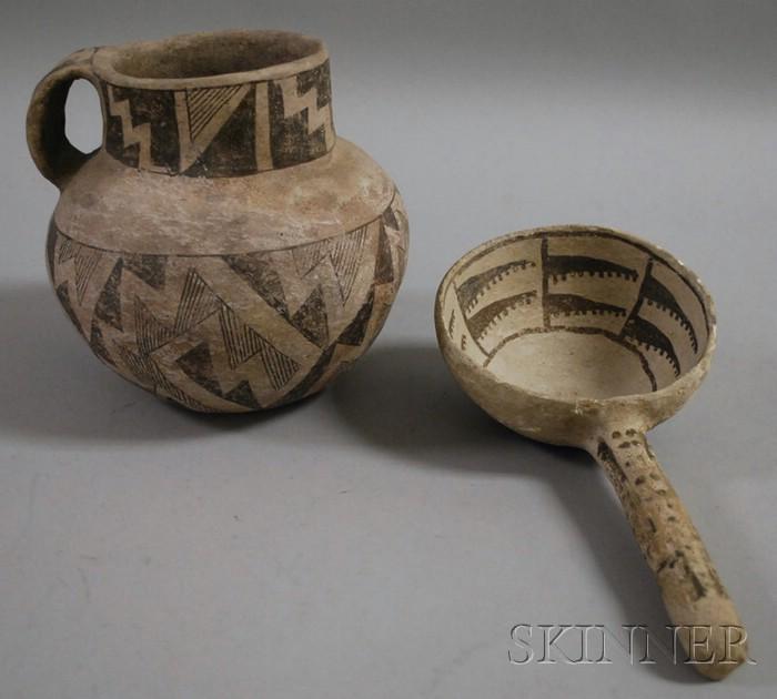 Anasazi Pottery Pitcher and  Ladle