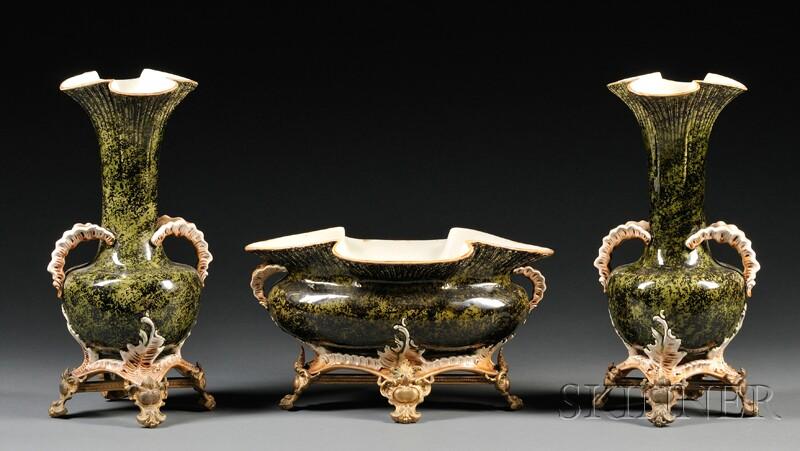 Three-piece Bronze-mounted Majolica Mantel Garniture