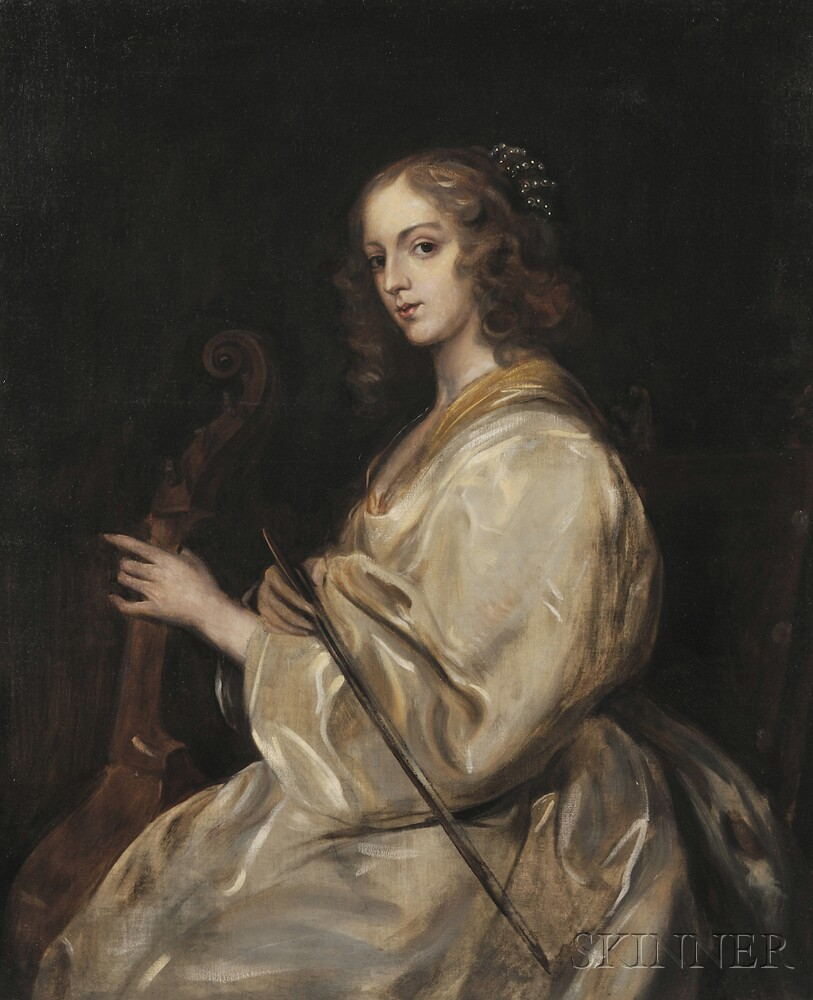 After Sir Anthony van Dyck (Flemish, 1599-1641),      Young Woman Playing a Viola da Gamba
