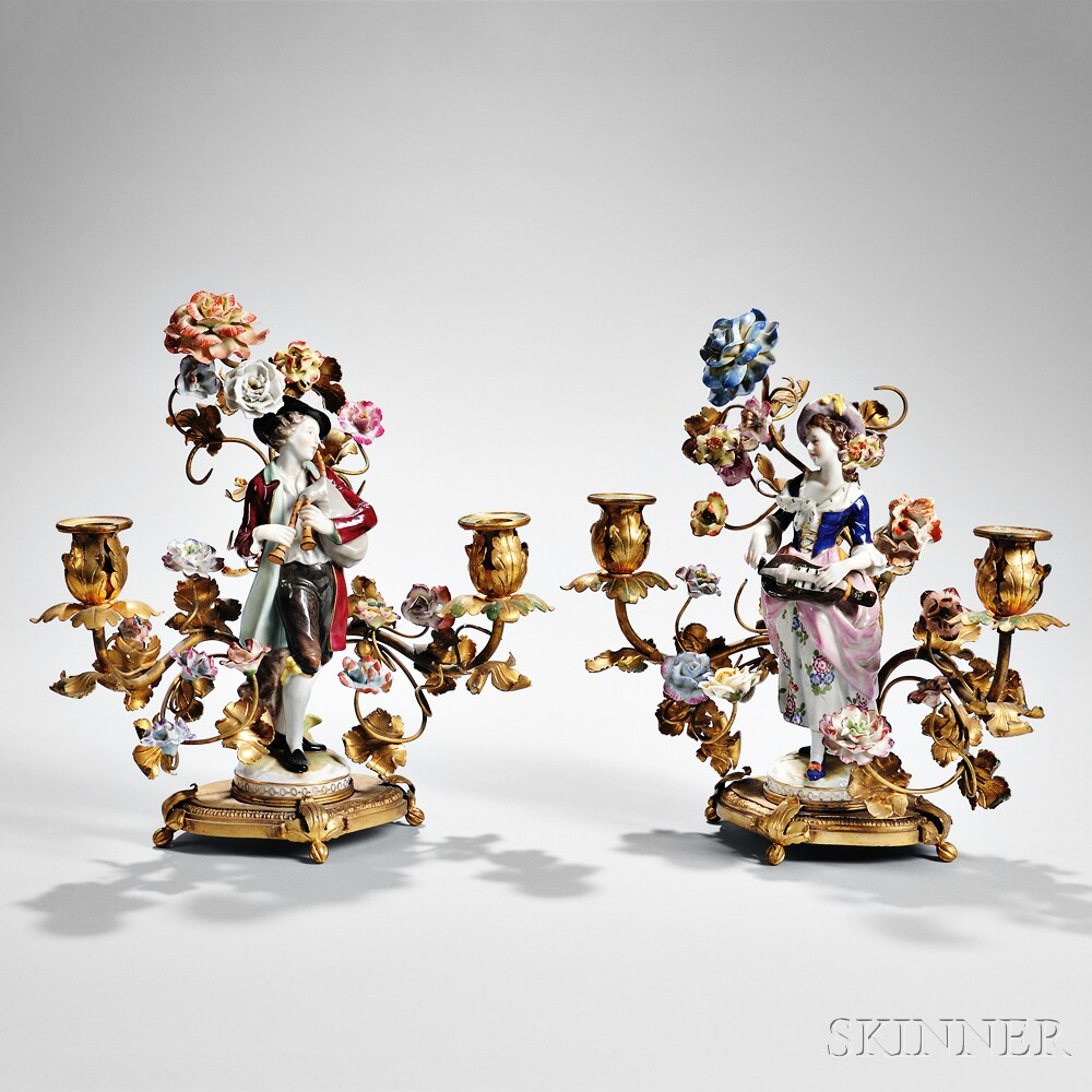 Pair of Meissen-style Gilt-bronze and Porcelain Candleholders