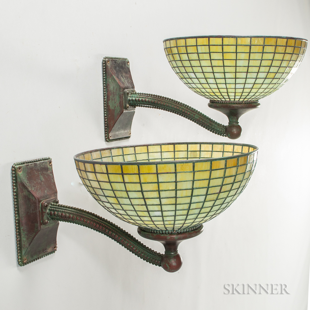 Two Art Nouveau Wall Lamps