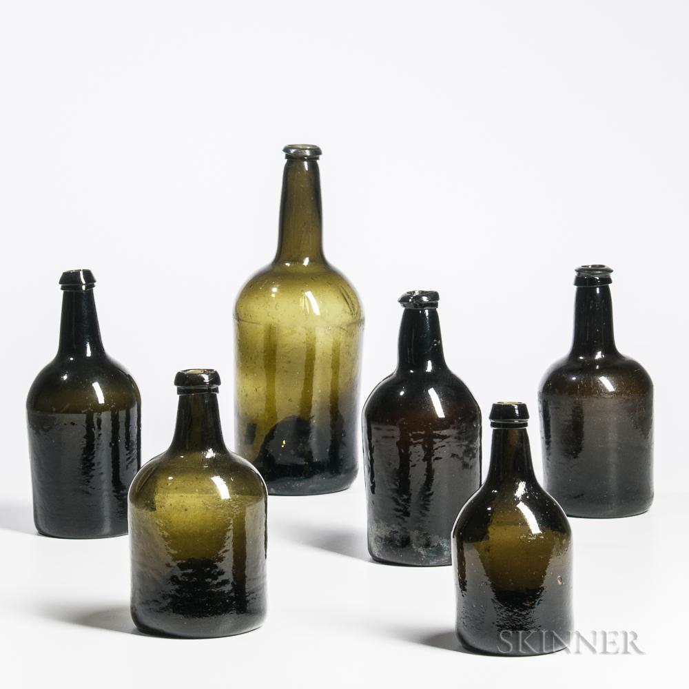 Six Early Blown Glass Wine Bottles
