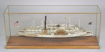 """Cased Carved and Painted Wooden Model """"City of Troy"""" Steam Side-wheeler"""