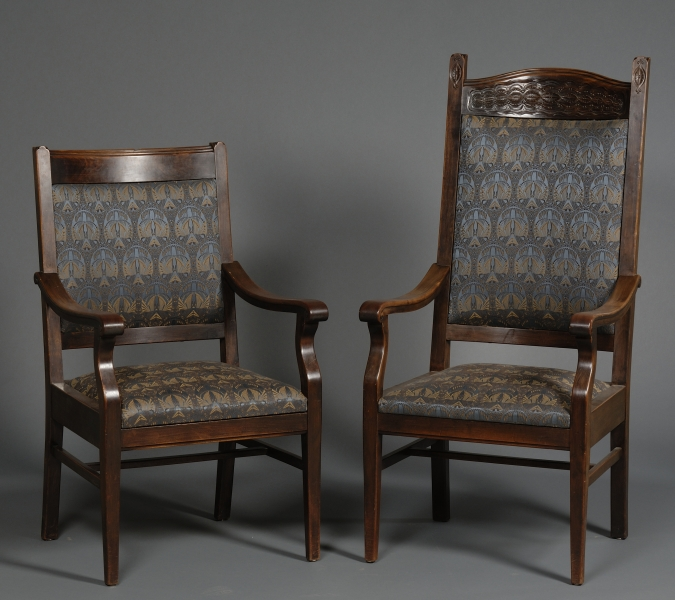 Two Continental Arts & Crafts Mahogany Dining Chairs