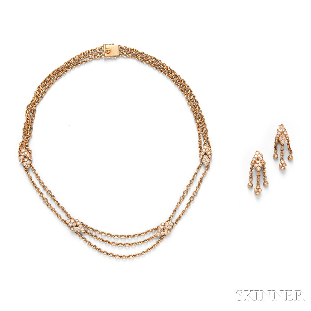 18kt Gold and Diamond Necklace and Earclips