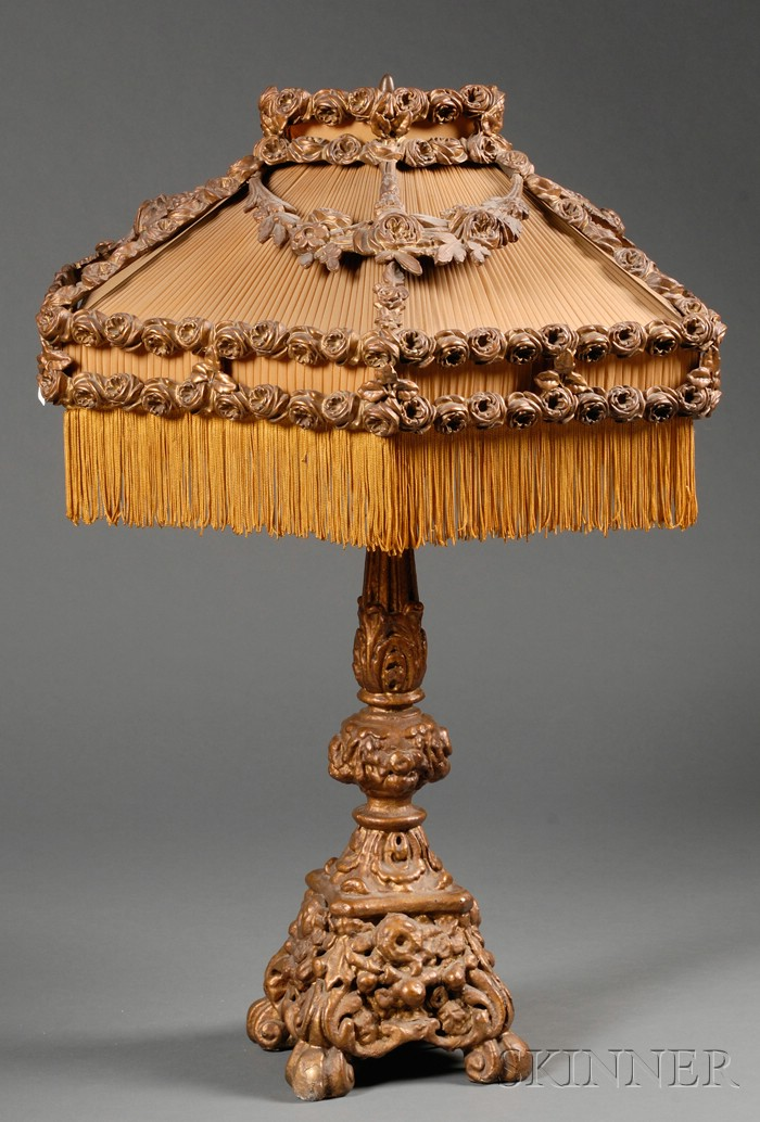 Rococo-style Gold Painted and Gessoed Carved Wood Lamp Base