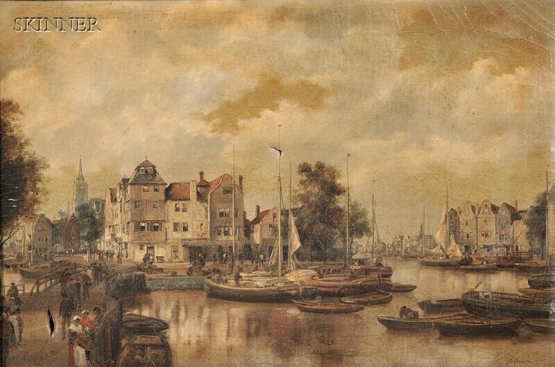 Johann Christoph Frisch (Dutch, 1738-1815)      Dutch City View with Bustling Harbor