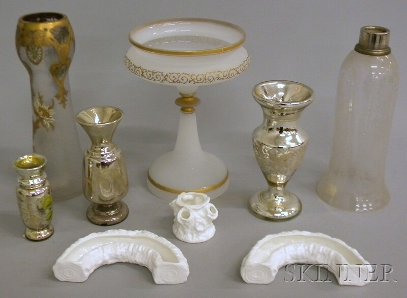Eight Decorative Art Glass and Porcelain Table Items