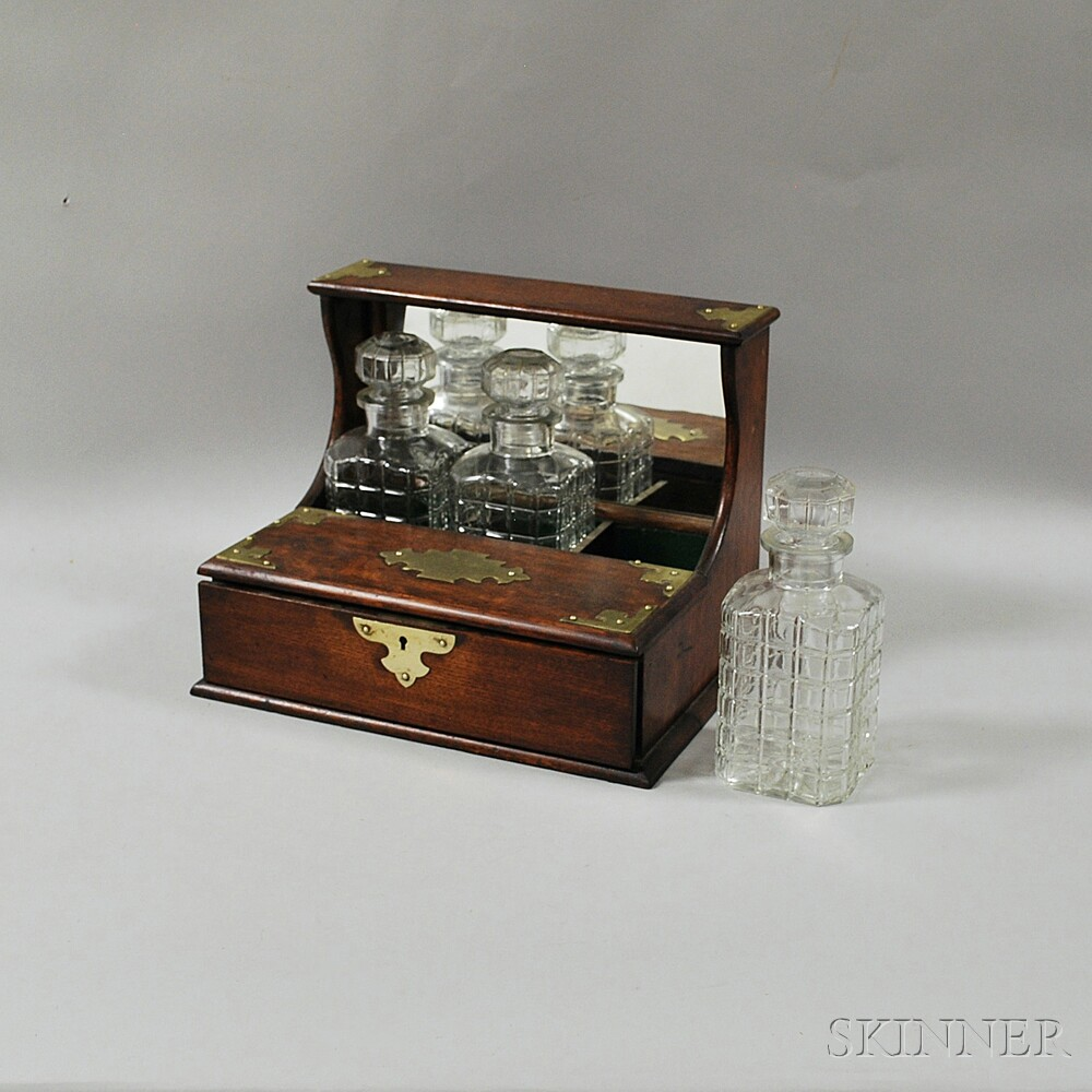 Brass-mounted One-drawer Oak Tantalus