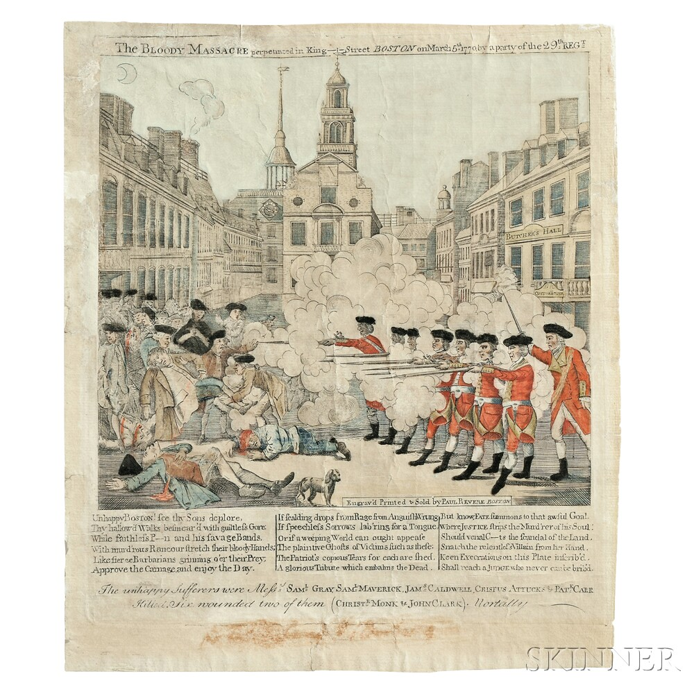 Paul Revere (American, 1735-1818) The Bloody Massacre perpetrated in King  Street, BOSTON, on March 5th 1770, by a Party of the 29th REG ...