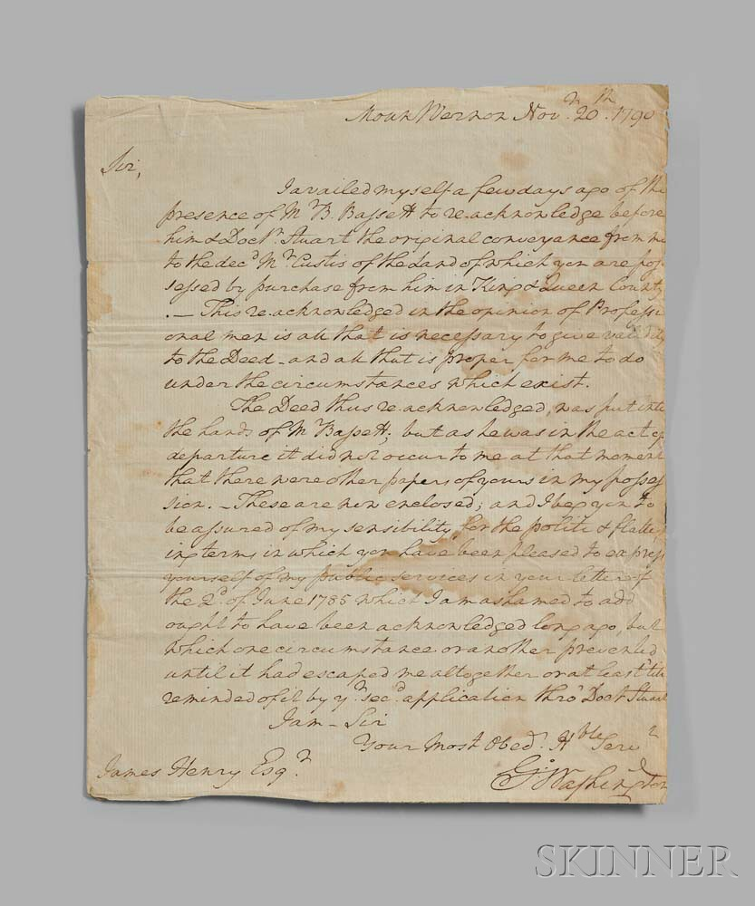 Washington, George (1732-1799) Autograph Letter Signed, Mount Vernon, 20 November 1790.