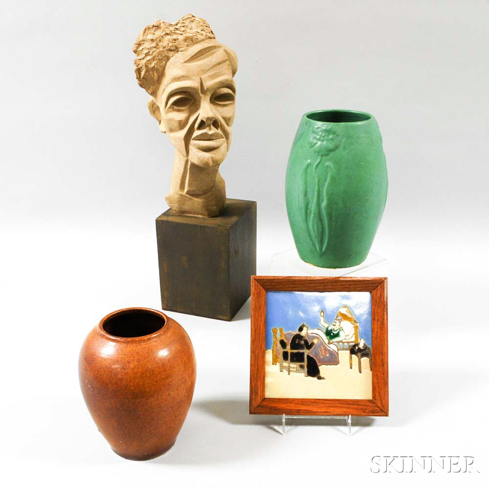 Two Art Pottery Vases, a Tile, and a Composite Bust