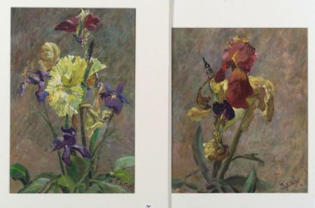 J. Alfonso (Chilean-Australian, b. 1934)  Lot of Two Floral Still Lifes with Iris
