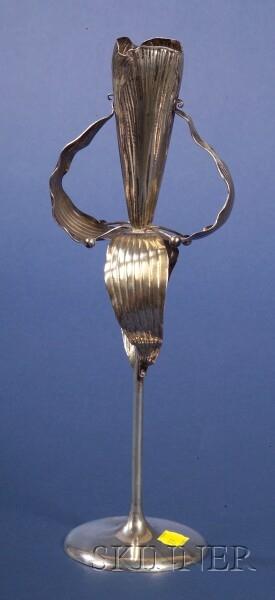 German Jugenstil-style Flower-form .800 Silver Spill Vase