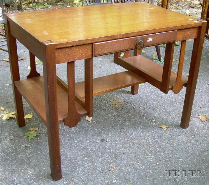 Bourn-Hadley Co. Mission Oak Flat-top Desk