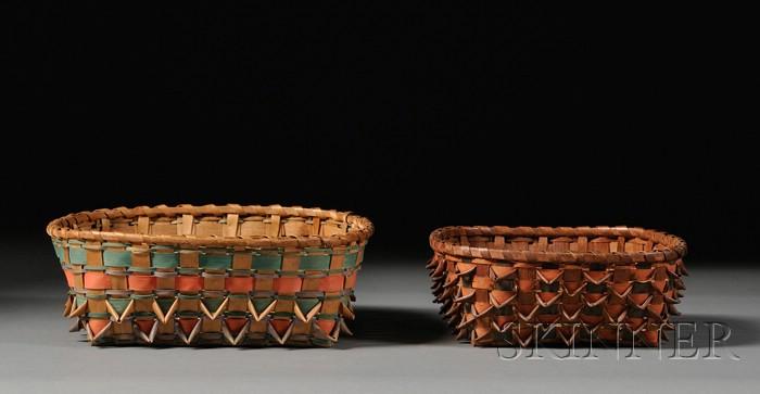Two Northeast Painted Wood Splint Baskets