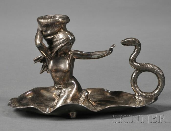 Art Nouveau Silver-plate Chamberstick