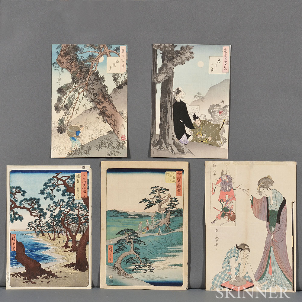 Five Ukiyoe   Woodblock Prints