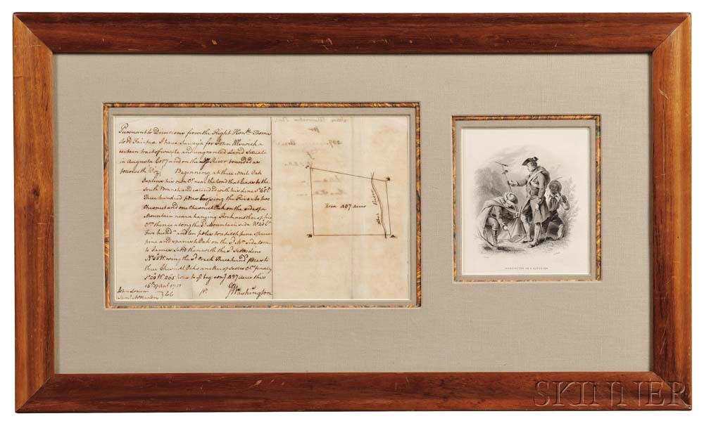 Washington, George (1732-1799) Autograph Survey Signed, Augusta County, Virginia, 16 April 1751.