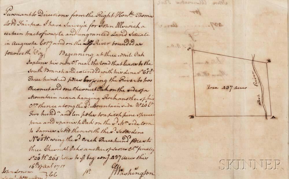 Washington, George (1732-1799) Autograph Survey Signed, Augusta County, Virginia, 16 April 1751.