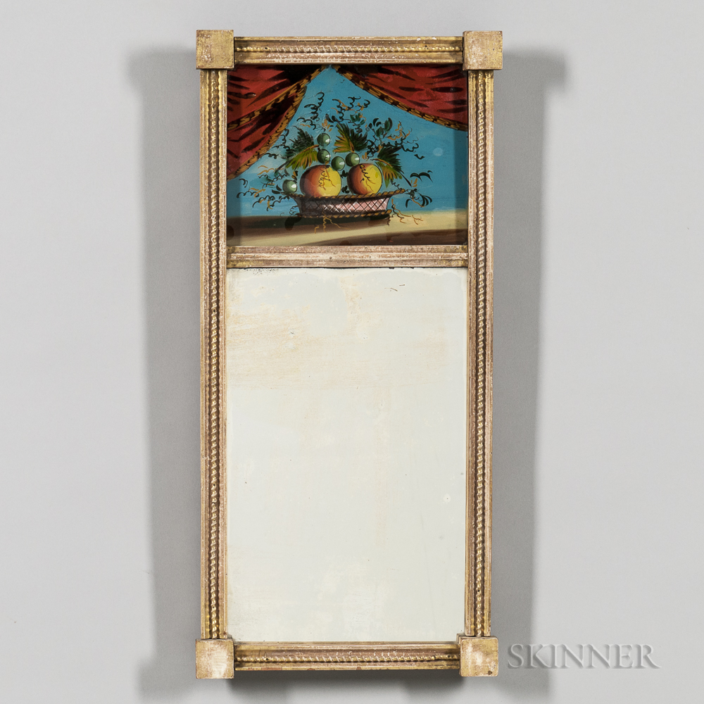 Federal Reverse-painted and Gilt Tabernacle Mirror